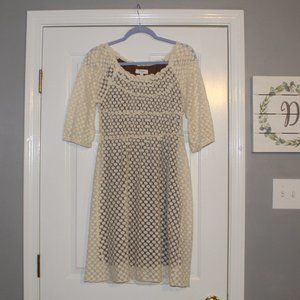 Umgee Cream Lace Dress With Brown Lining